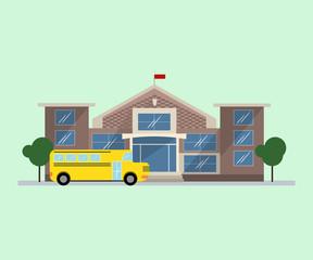 School building and yellow school bus in flat design.