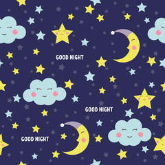Good Night seamless pattern with cute sleeping moon, stars and clouds. Sweet dreams background. Vector illustration.