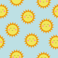 Cute vector pattern of SUN icons. Funny happy smiley suns. Bright and beautiful cartoon seamless pattern.