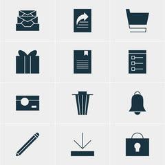 Vector Illustration Of 12 Web Icons. Editable Pack Of Bookmark, Upload, Pen And Other Elements.