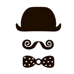 Hipster Retro Vintage Vector Icon. gentleman with the hat, mustache and bowtie