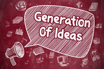 Generation Of Ideas - Doodle Illustration on Red Chalkboard.