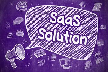 SaaS Solution - Cartoon Illustration on Purple Chalkboard.