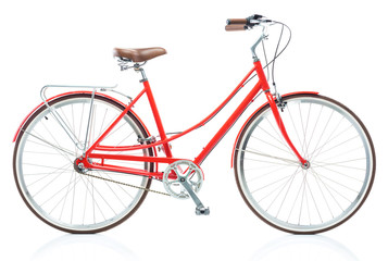 Stylish female red bicycle isolated on white