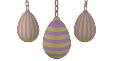 3d-Illustration, Ostereier in Pastellfarben an einer Kette hängend