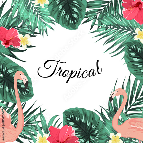 Exotic tropical jungle rainforest bright green palm tree and ...