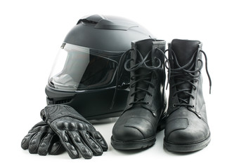 Motorcycle helmet, gloves and boots.
