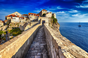 Panorama Dubrovnik Old Town roofs at sunset. Europe, Croatia Wall mural