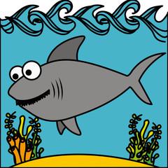 happy shark inside aquarium icon, vector illustration design
