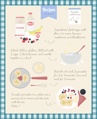 Home Cooking Recipe. Cooking pancakes, step by step instructions, ingredients.