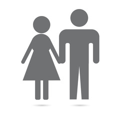 Man and woman. Grey icon on white background