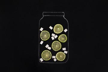 Hand chalk drawn jar full of citrus fruits with sugar