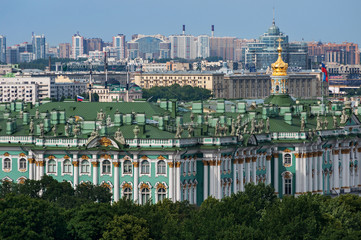 View of The Winter Palace from the colonnade of the Saint Isaac's Cathedral. St. Petersburg, Russia.