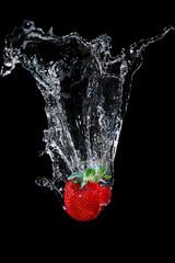 Printed roller blinds Splashing water strawberry splash water fluid beautiful clean clear summer tasty beauty fall milk black sweet movement red white wash fresh creative wave fruits food drink eat