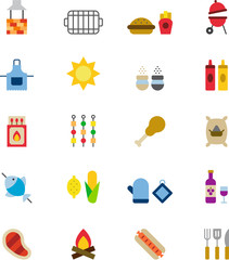 BBQ colored flat icons pack