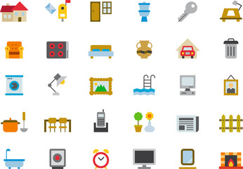 HOUSEHOLD colored flat icons pack