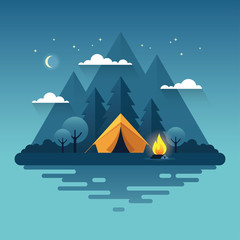 Night camping illustration in flat style