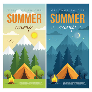 Day and night summer camp banners