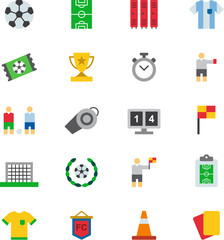 SOCCER / FOOTBALL colored flat icons pack