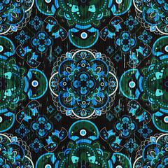 Colorful Paisley seamless pattern. Indian ornamental wallpaper
