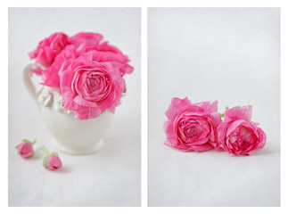 Close-up floral composition with a pink ranunculus flowers on the table.