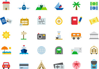 TRAVEL & VACATION colored flat icons pack