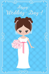 "Greeting card ""happy wedding day!"" with decorative frame and the bride. Vector"