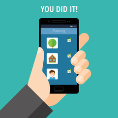 """Hand holding a phone with the scheduling tasks. The words """"You did it!"""". Vector"""