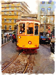 Digital watercolor painting of a traditional vintage yellow tram in Lisbon, Portugal, traveling through the city with the tram line showing.