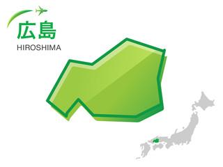 広島県の地図:イラスト素材