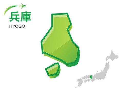 兵庫県の地図:イラスト素材