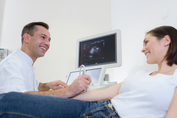 examining the joint using ultrasound