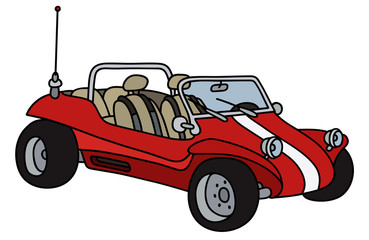 Funny red dune buggy