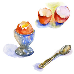 Watercolor vintage set of boiled eggs. Hand drawn eggs and silver spoon with shadow. Isolated breakfast illustration on white background