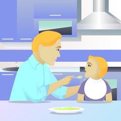 father feeding child in kitchen