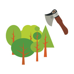Axe symbol with trees