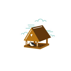 Simple illustration of birdhouse with bird in flat style. Vector.