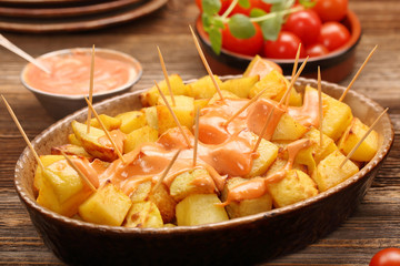 Patatas bravas traditional Spanish potatoes snack tapas