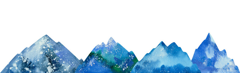 watercolor Snow-capped mountains