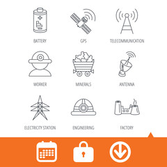 Worker, minerals and engineering helm icons. GPS satellite, electricity station and factory linear signs. Telecommunication, battery icons. Download arrow, locker and calendar web icons. Vector