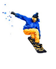 Watercolor Snowboarder Jumping Extreme Sports Hand Painted Illustration isolated on white background