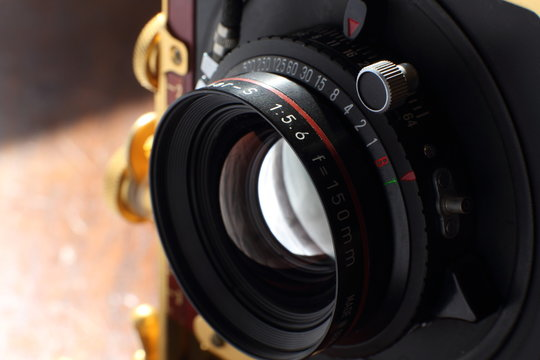 Details of view camera lens and shutter