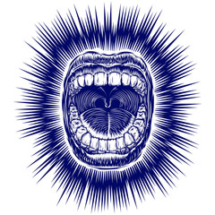 Open screaming mouth with teeth; Shouting singing yawning mouth of woman or man; Jaw drop; T-shirt print design from vintage tribal tattoo in ink hand drawing style; Vector monochrome background Eps8