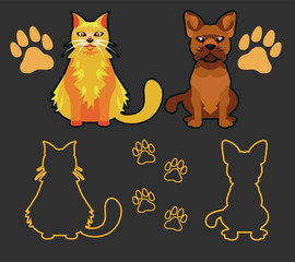 Set of Silhouettes of pets, cat and dog