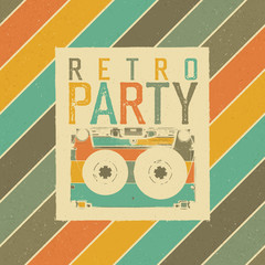 Retro Party. The best of 80's. Vintage Music Party Leaflet Template. Retro colors. Audiocassette retro image. Grunge, vintage, textured illustration.
