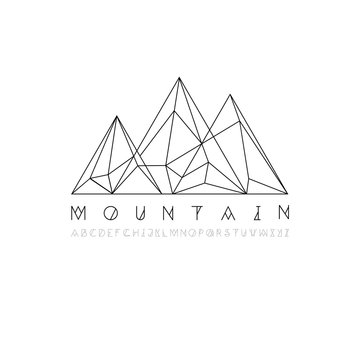 Mountain line icon, outline vector logo illustration, linear pictogram isolated on white. With thin line alphabet for your headline.