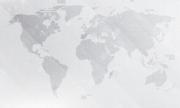 Abstract light grey world map background.  Digital global technology concept. Vector Illustration.