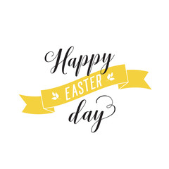 Happy Easter Day Lettering With Ribbon
