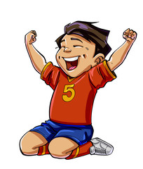 Cartoon football boy scoring a goal