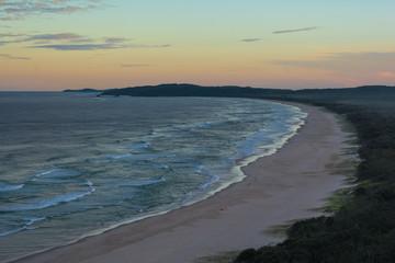 The beautiful  panoramic sunset view omn Tallow beach in Byron Bay, Australia
